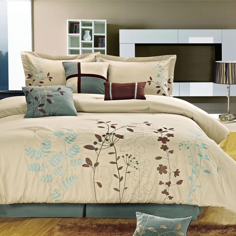 Chic Home Bliss Garden 12-Piece Comforter Set, King, Beige
