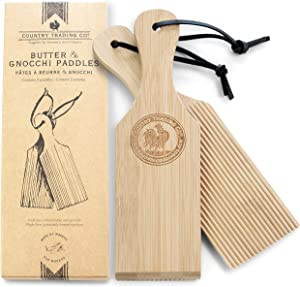 Gnocchi Boards and Wooden Butter Paddles to Easily Create Authentic Homemade Pasta and Butter Without Sticking - Set of 2 Makers - 9.5 inches
