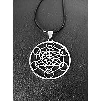 Colgante con el símbolo Metatrón de acero inoxidable, Cubo Metatrón, Collar protección, Geometría sagrada, Ángel…