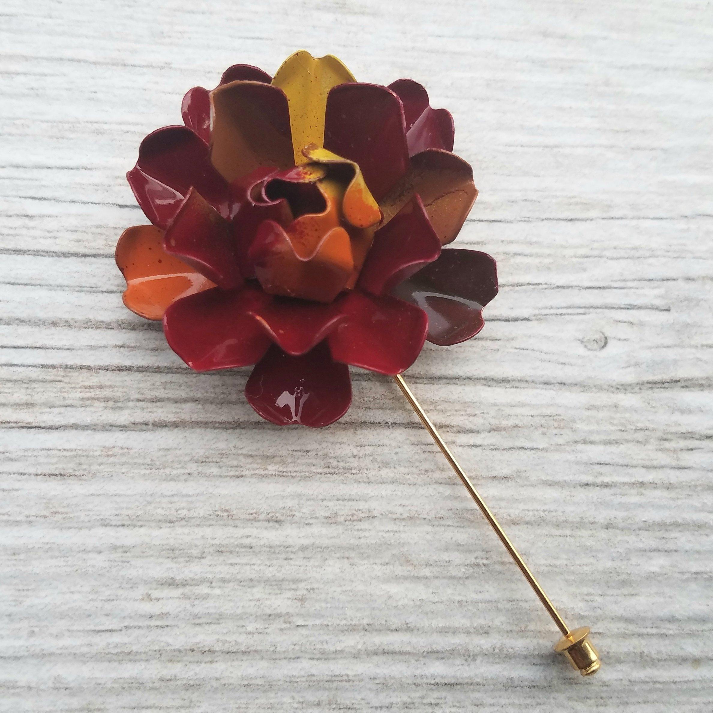 Autumn Metal Enamel Flower Lapel Pin Bone Rose