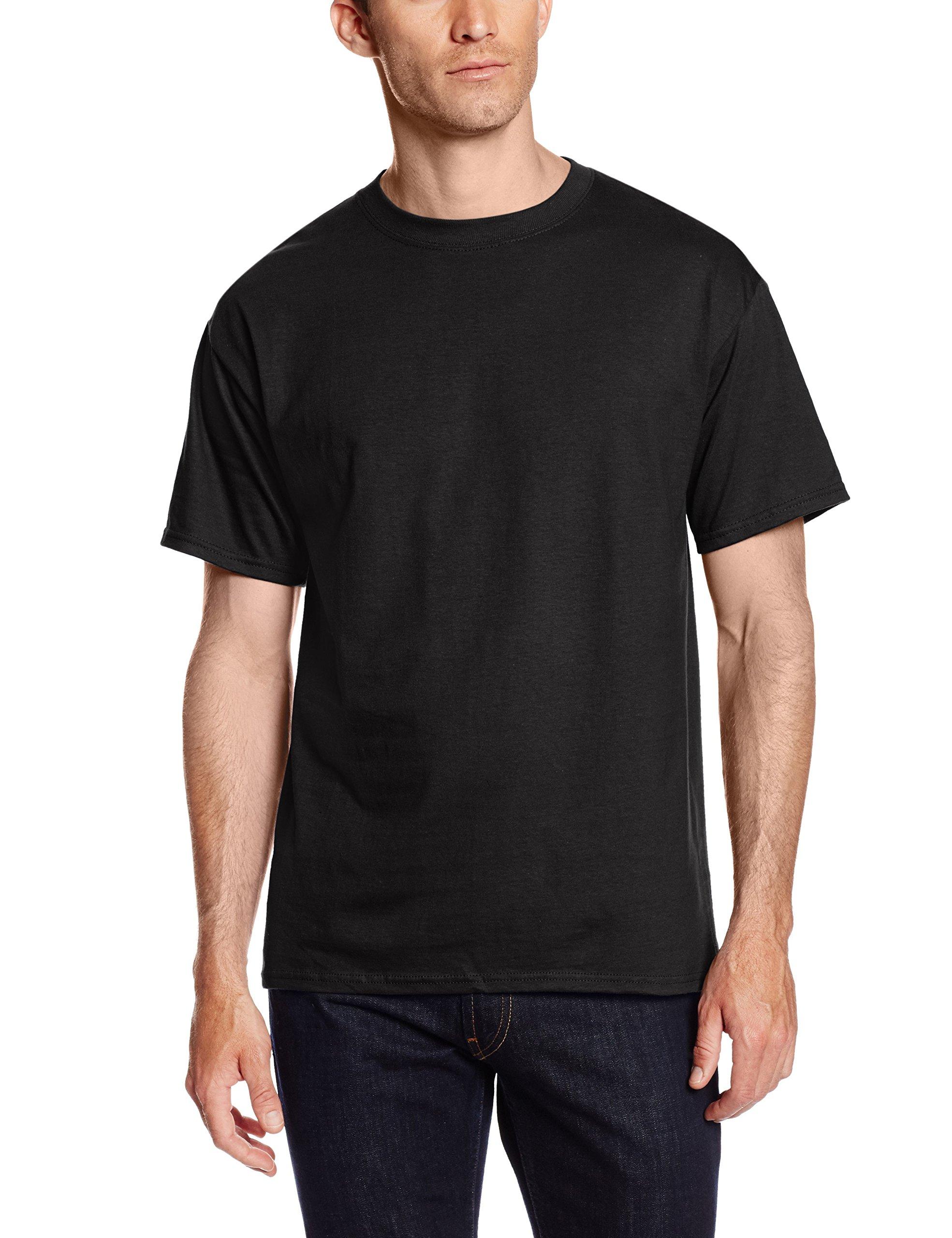 Hanes Men's Short Sleeve Beefy-T (Pack of 2), Black, Large by Hanes (Image #1)