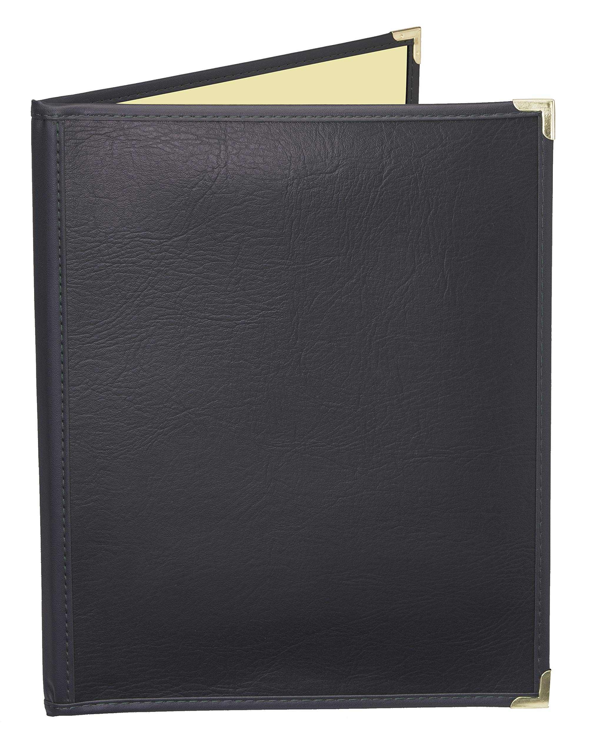 JR SALES CORP, FlexMC-A2V811, 25 Pack of Premium semi-flexible Menu Covers with inside café style pockets, Soft leather-like supported cover with crystal clear vinyl inside pockets. Two pocket booklet with 2 views. Holds 8.5'' x 11'' Inserts. Color: Black