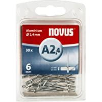 Novus blindklinknagels Ø2,4 mm aluminium, 6 mm lengte, 30 klinknagels, 1,5-3,5 mm klemlengte, voor bevestiging van non…