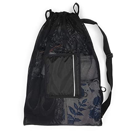 713f4628741b Fitdom Large Drawstring Sling Swim Mesh Bag. Best for Swimming Snorkel  Training Gym Gear & Water Resistant Pocket for Your Phone Wallet or  Accessories ...