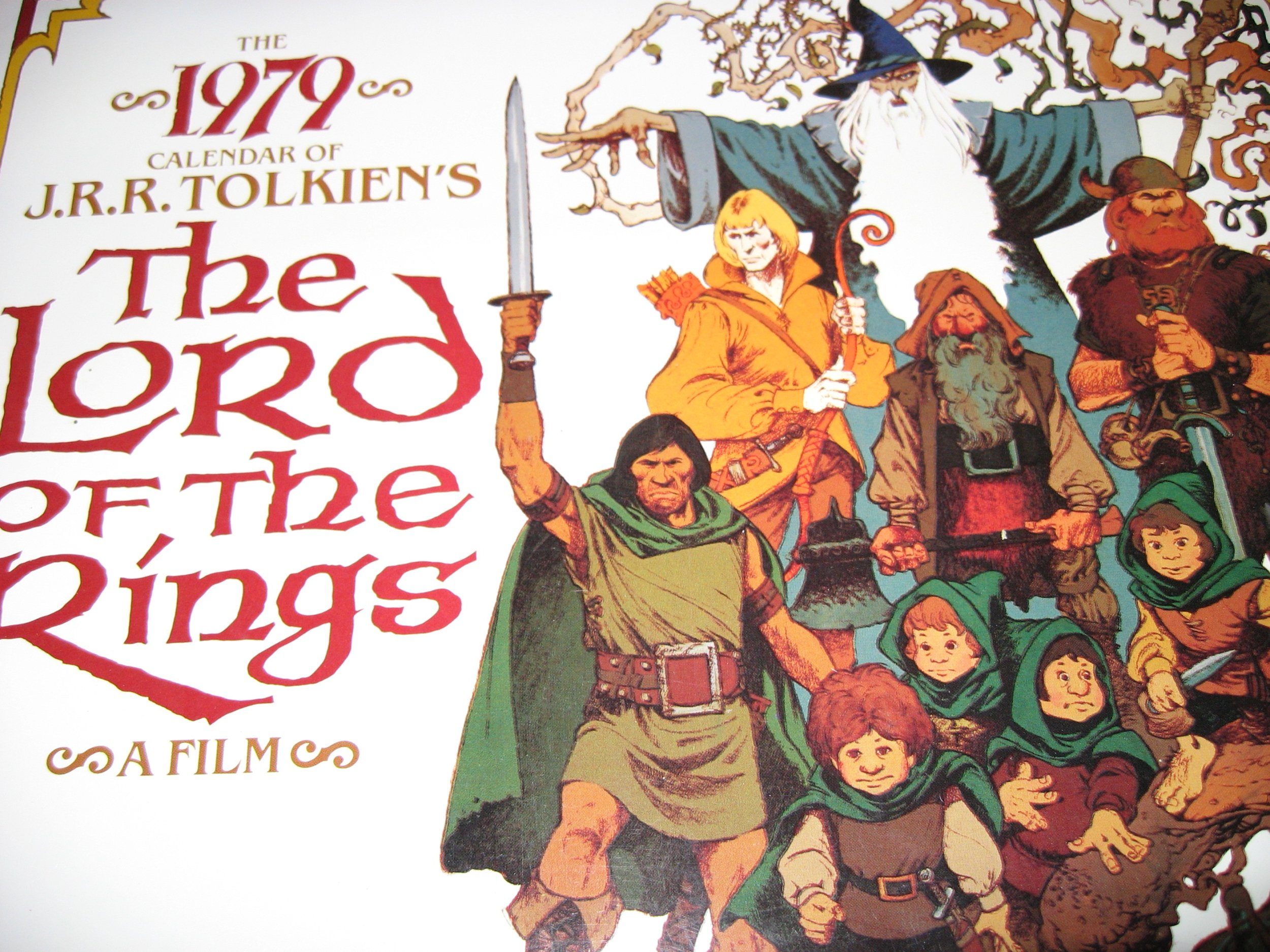 Beautiful 1979 J.R.R. Tolkien Lord of the Rings Calendar, featuring artwork from Ralph Bashki's 1979 Animated Lord of the Rings Movie (Lord of the Rings), J.R.R. Tolkien