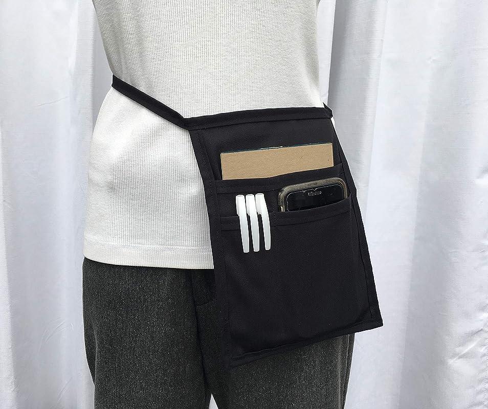 Hip Side Apron Waiter Waitress Money Pouch Black I Pad Regular Size