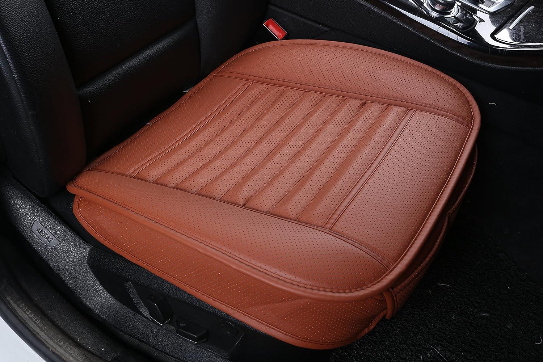 W x 20.5 CONMING Asiento de autom/óvil de carb/ón de le/ña Asiento de interior de autom/óvil Asiento de cuero de PU y cubierta de carb/ón de bamb/ú de la cubierta 19.7 Coj/ín del asiento de coche marr/&oacu L