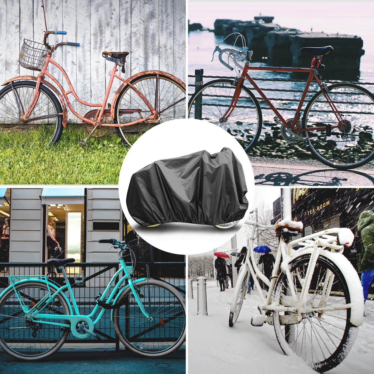 Deacroy Outdoor Bike Cover for 1 or 2 Bikes,Waterproof Anti-UV Bicycle Storage Protection from All Weather Conditions for Exercise Mountain Road Bikes