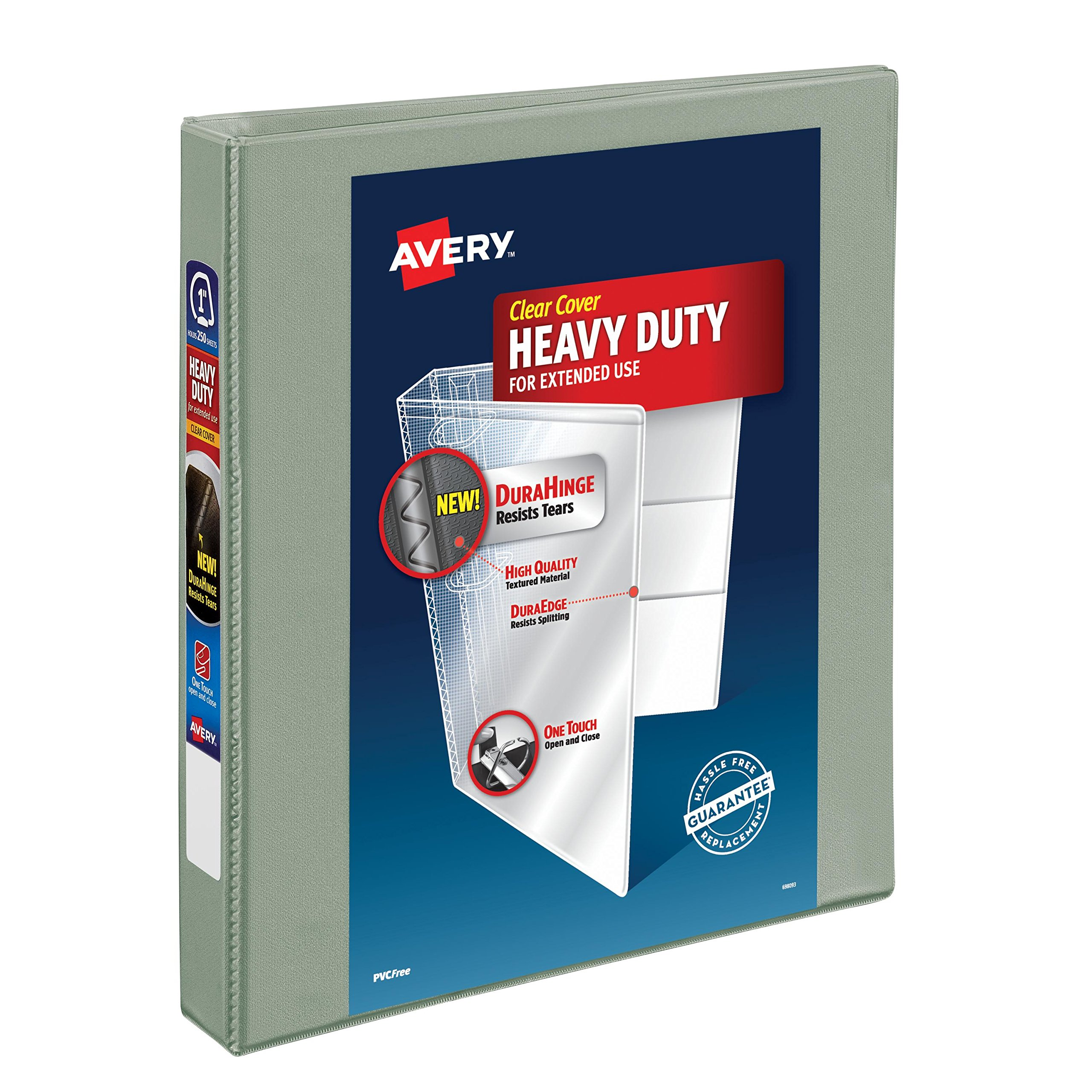 Avery Heavy-Duty View Binder with 1-Inch One Touch EZD Ring, Gray (79409)