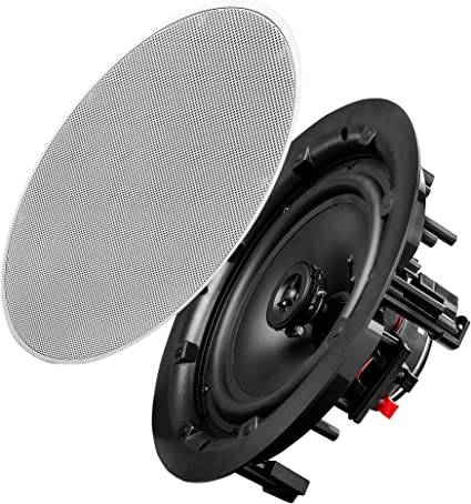 Basics 6.5 Round In-Ceiling In-Wall Mounted Speakers Set of 2