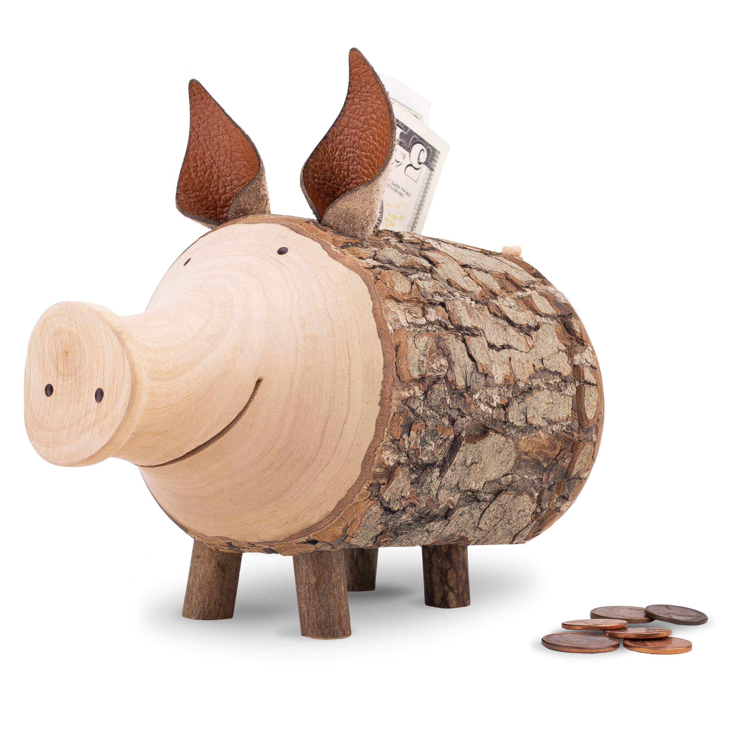 Forest Decor Cute Kid's Piggy Bank for Boys and Girls, Handmade Wood Craftsmanship, Cute Unfinished Bark, Stores Cash and Coins, Made in Germany (Large)