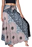 B BANGKOK PANTS Women's Long Boho Maxi Skirt Hippie Clothes Bohemian Asymmetric (Grey Floral, Plus Size)