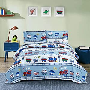 3 Pieces Kid's Cartoon Choo Choo Coal Train Pipe Quilted Bedspread Coverlet Twin(86x68 Inches), Lightweight Thin Summer Quilt Set,Reversible Bedding Set for Boys Girls Children (Twin,Blue)