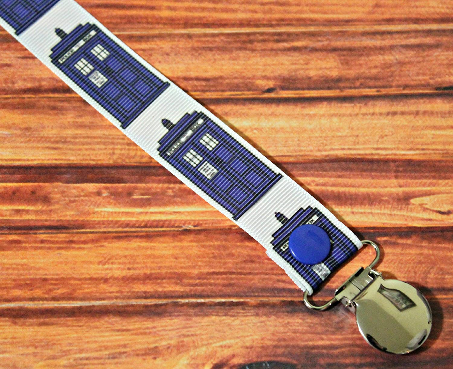 Dr. Who Tardis Pacifier clip binky soother strap