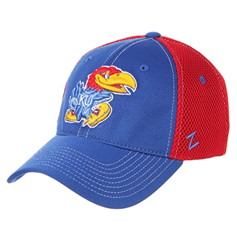 buy popular 3eb92 d537e Image Unavailable. Image not available for. Color  ZHATS University of Kansas  KU Jayhawks Blue Red DHS Rally Mens Fitted Baseball Hat Cap