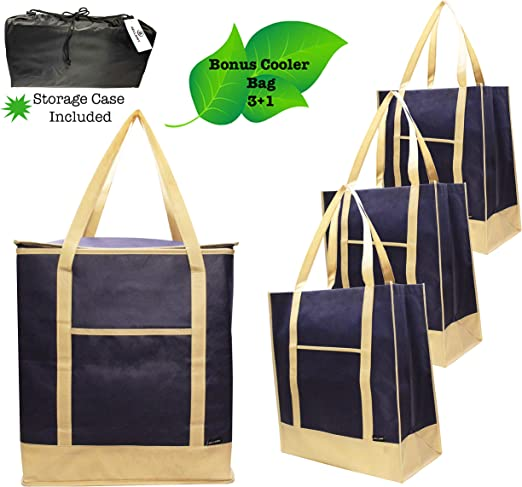 Large Reusable Grocery Tote Shopping Bag Koozie Cooler Cool Shopper Coloured