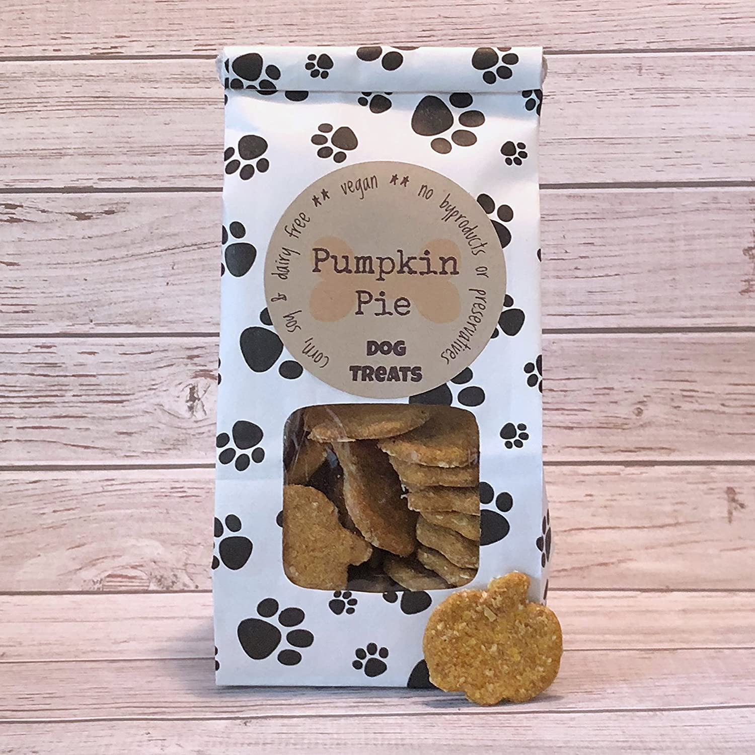 5 oz Pumpkin Pie Dog Treats/Handmade/Corn Soy and Dairy Free/Egg Free/Vegan/No Added Preservatives, Fillers or Color