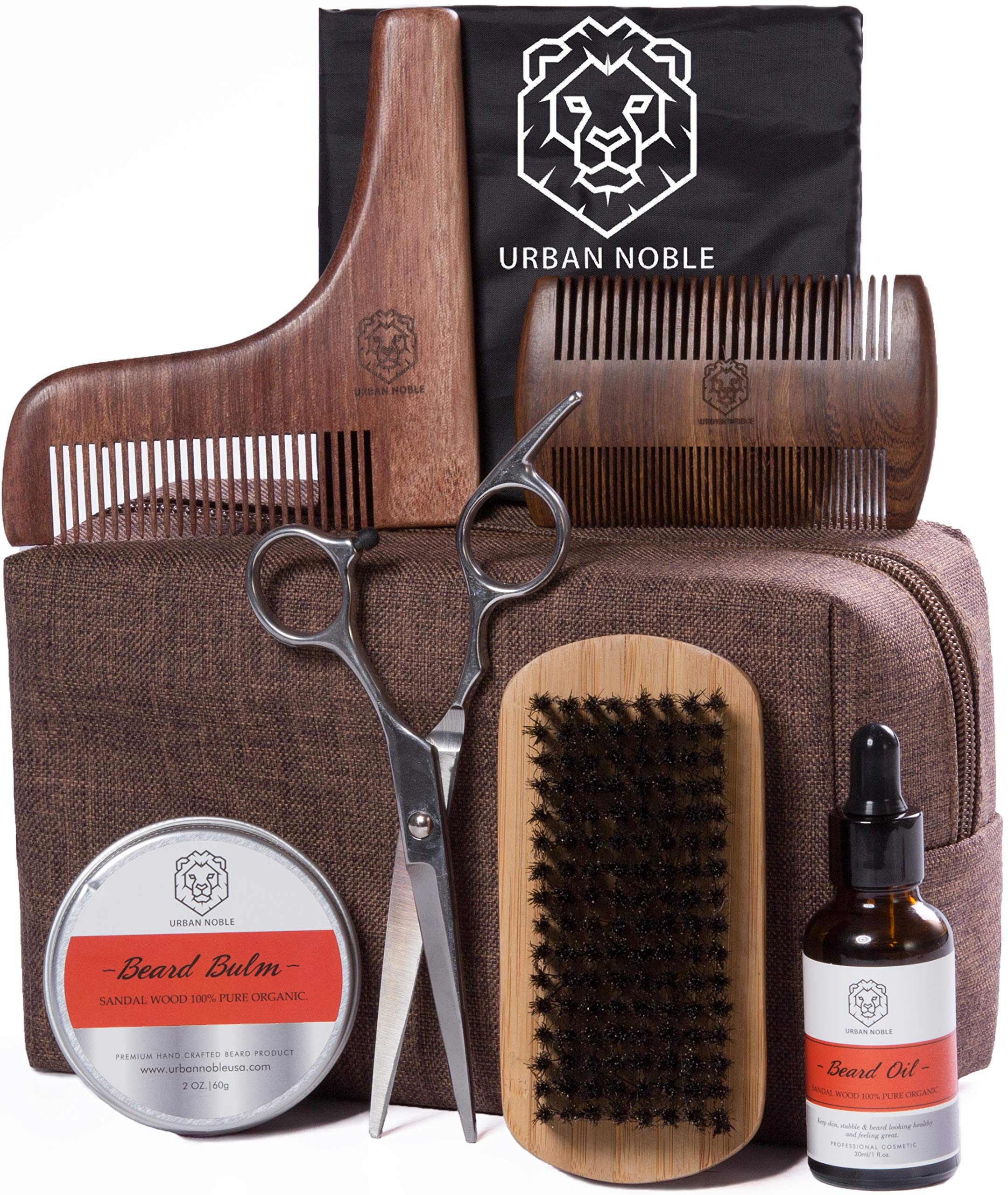 Beard Grooming Kit for Men Gift Set- Beard Oil Growth & Organic Balm For Man - Sandalwood Beard Comb -Beard Shaping Tool - Mens Black Beard Apron - Beard kit Gifts Set for Men/Fathers day, Valentines