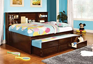 furniture of america lemoine captain full bed with twin trundle and 3 drawers cherry finish