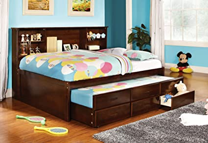 Amazoncom Furniture Of America Lemoine Captain Full Bed With Twin