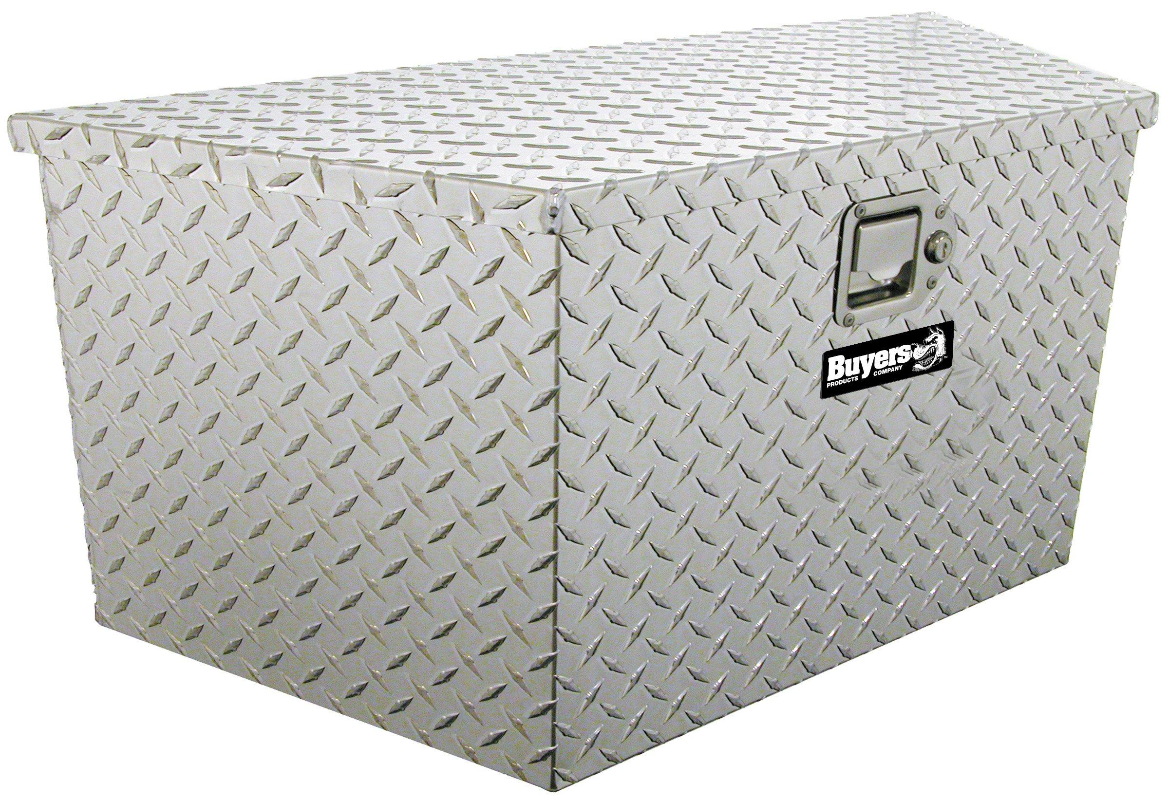 Buyers Products Diamond Tread Aluminum Trailer Tongue Truck Box (18.5x15x49/37 Inch)