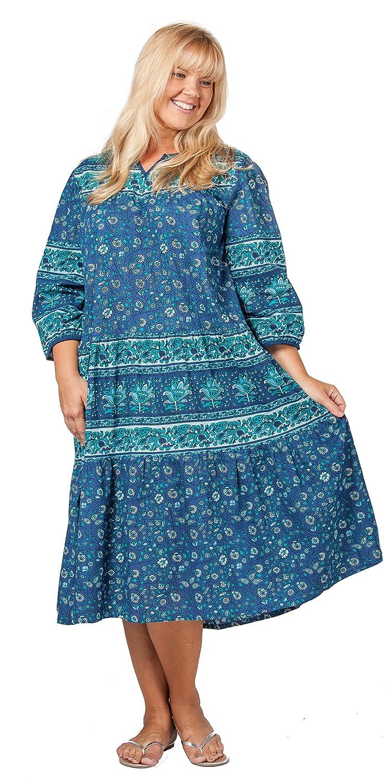 La Cera Plus Size Housedresses - 2/3 Sleeve Cotton Dresses in ...