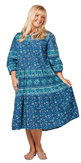La Cera Plus Size Housedresses - 2/3 Sleeve Cotton Dresses in Blueberry  Paisley