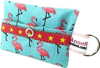 AnneSvea Kackbeutel Flamingo türkis Pink Hundekotbeutel Spender Hundetüte Leckerli Tasche aus Wachstuch Gassi Gehen Waste Geschenk Hundebesitzer Poop Bag Chien