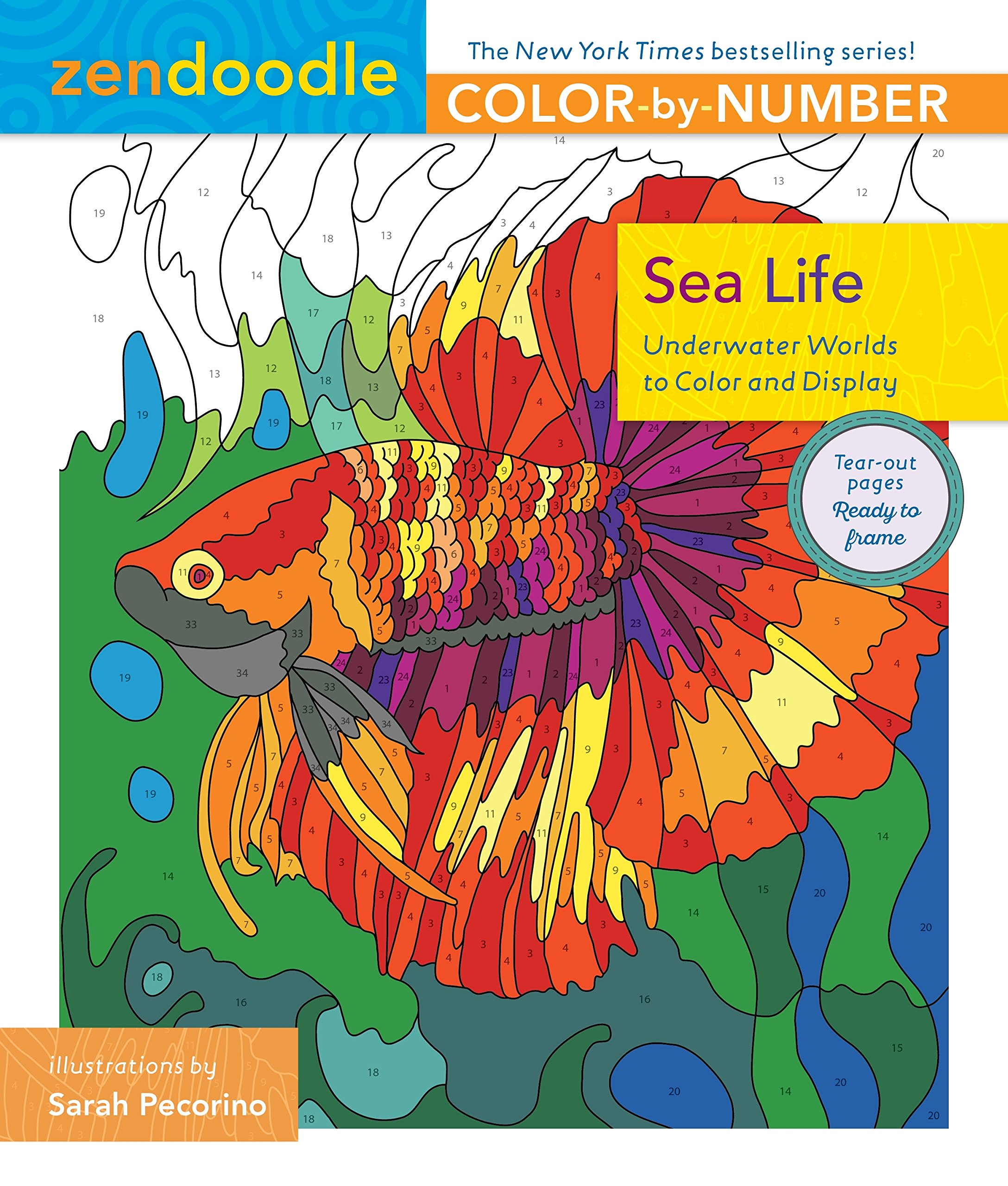 Download Zendoodle Color-by-Number: Sea Life: Underwater Worlds to Color and Display pdf
