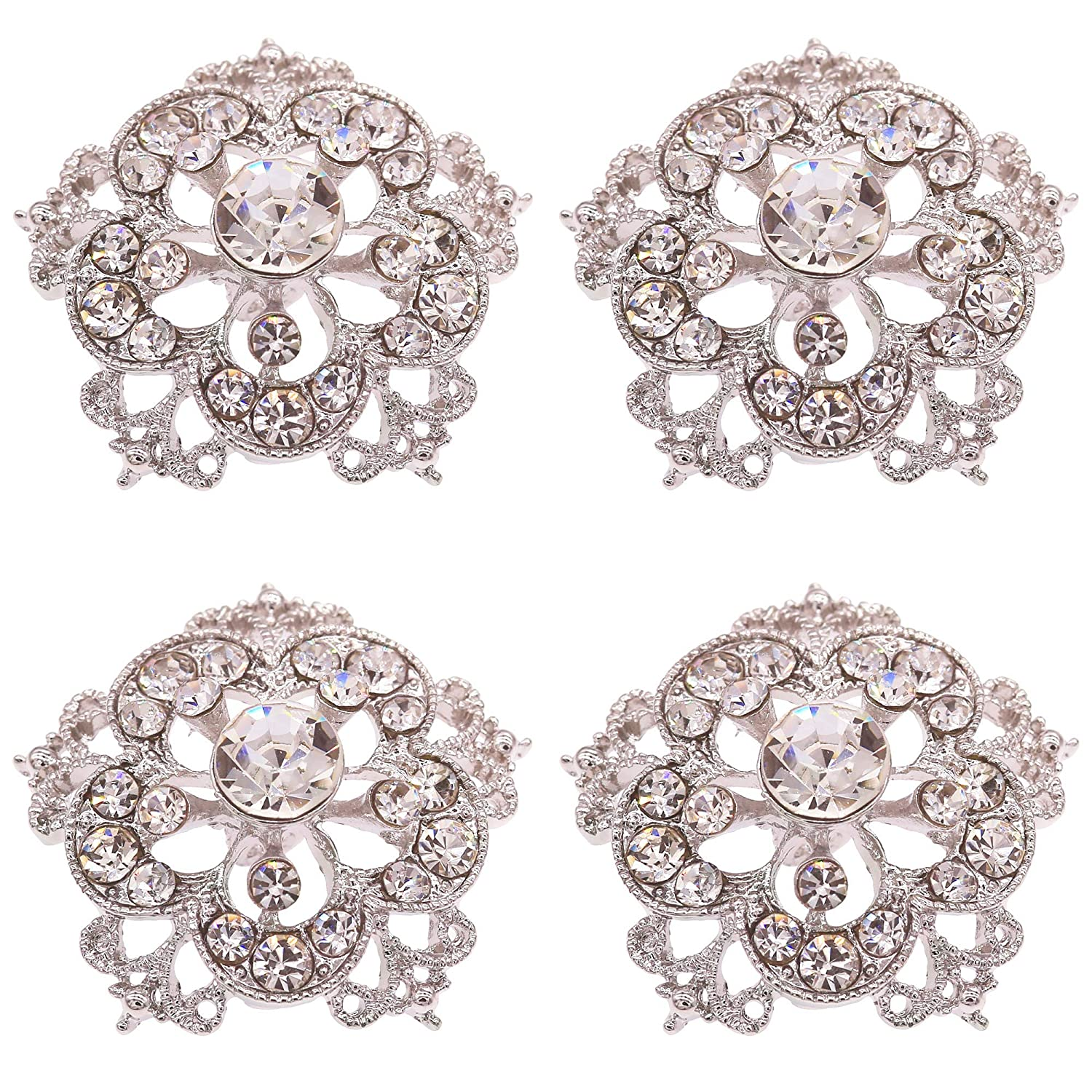 Amazon.com  SHINYTIME Crystal Rhinestone Buttons 4 Pieces Sew-On Silver  Tone Flower Buttons for Wedding Bouquet Accessories and DIY Crafts 1.2X1.2  inches b6cd5d5bb879