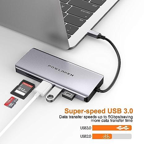Amazon.com: POWLAKEN - Adaptador USB C 11 en 1 con Ethernet ...
