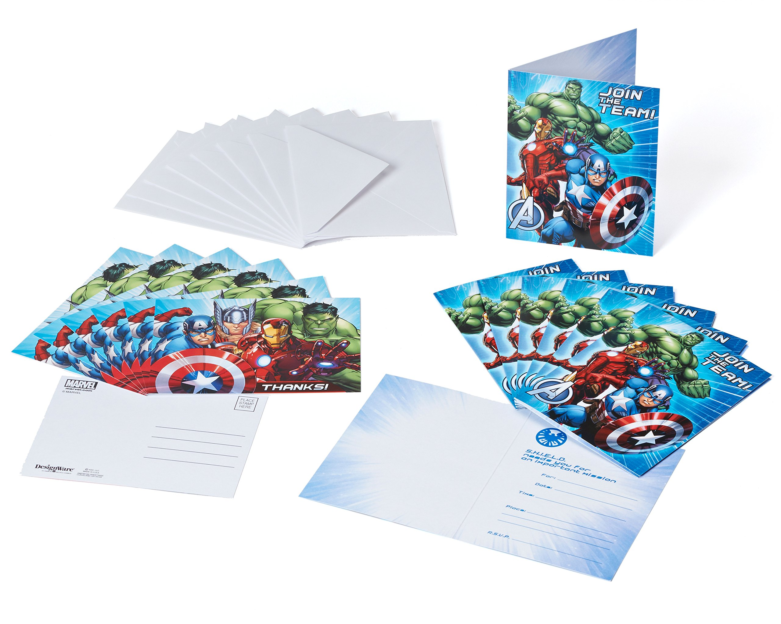 Marvel Avengers Invite and Thank You Combo, 8 Pack, Party Supplies by American Greetings (Image #1)