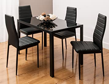 Glass Dining Table Set With 4 Faux Leather Ribbed Chairs Black White