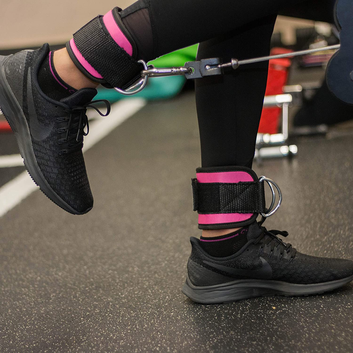 Resistance and Functional Trainers 2 Reinforced D-Rings Adjustable Neoprene Cuff Unisex Two Pair Set Black and Pink LEBBOULDER Ankle Straps For Use With Standard Cable Machines