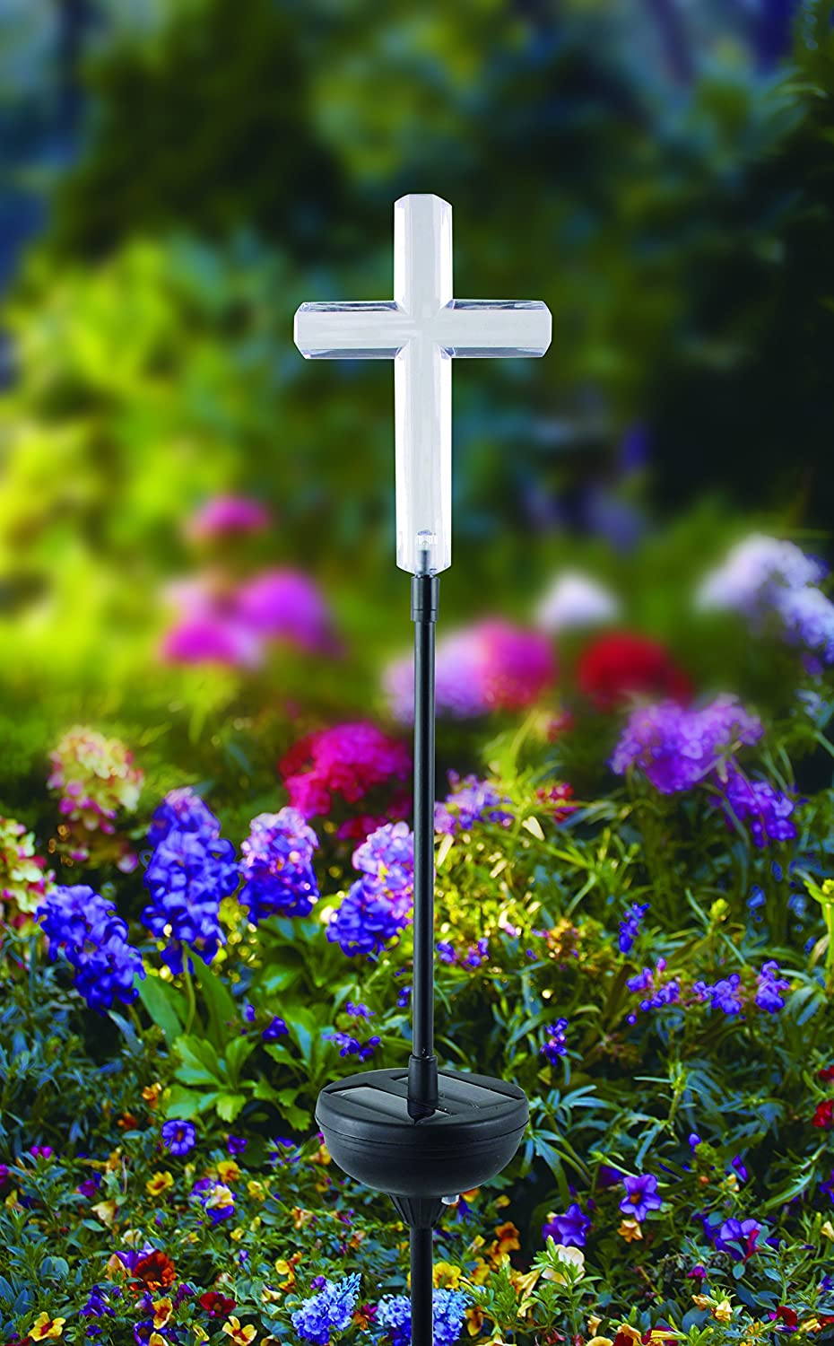 Automatic Light Beautiful Accent for Gardens or Yard Eco Friendly Easy Installation Cross Design Renewed Moonrays 93243 Solar Stake Light Made of Clear Plastic with White LED Light