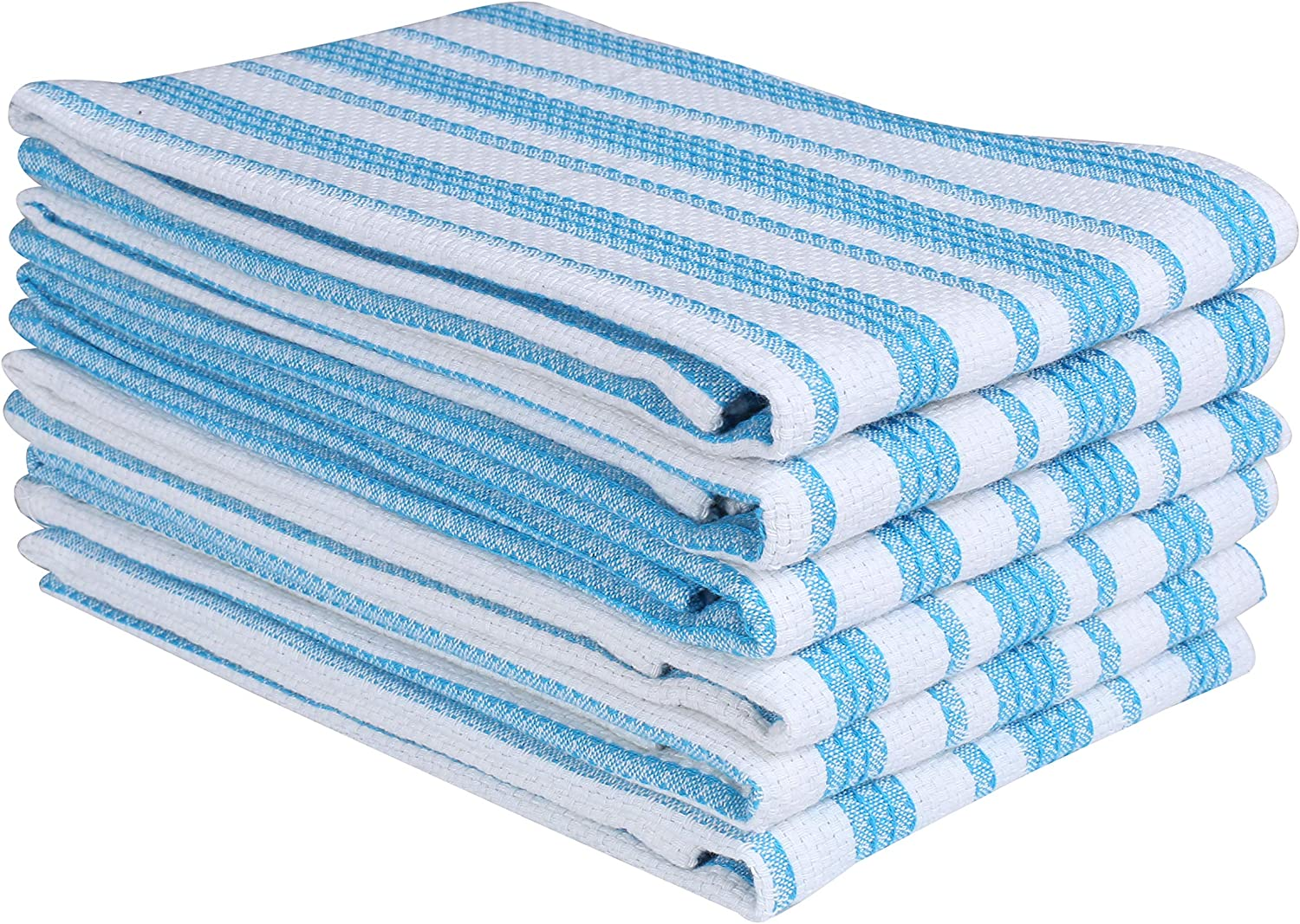 Farmhouse Vintage Kitchen Dish Towel 6 Pack, Dish Cloths, Bar Towels, Tea Towel and Cleaning Towel, Highly Absorbent and Quick Dry Kitchen Towels with Hanging Loop - 16x26 Inch - Turquoise Blue White