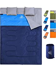 oaskys Camping Sleeping Bag - 3 Season Warm & Cool Weather - Summer, Spring, Fall, Lightweight, Waterproof for 2 Adults & Kids - Camping Gear Equipment, Traveling, and Outdoors