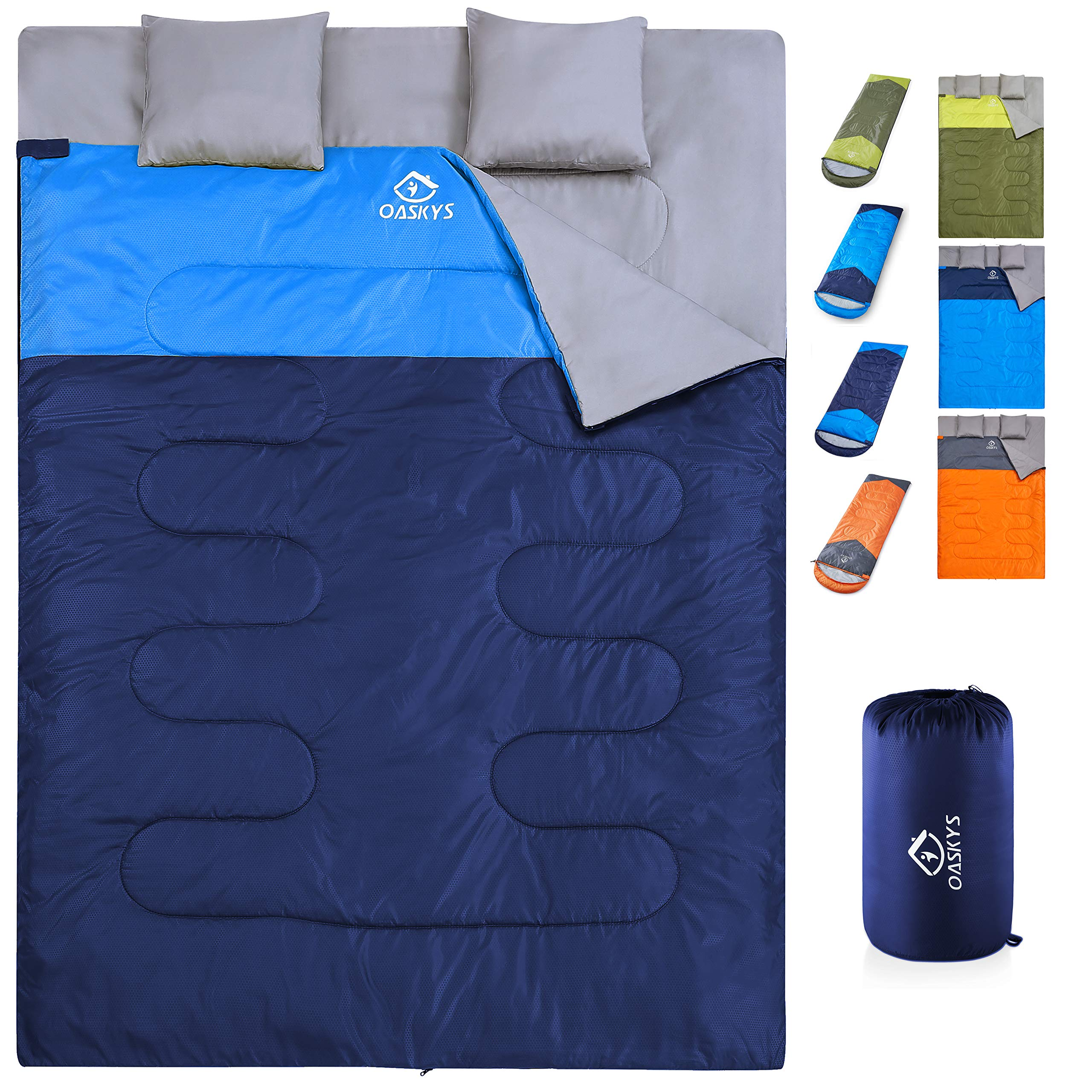oaskys Camping Sleeping Bag - 3 Season Warm & Cool Weather - Summer, Spring, Fall, Lightweight, Waterproof for Adults & Kids - Camping Gear Equipment, Traveling, and Outdoors (Double Navy Blue) by oaskys