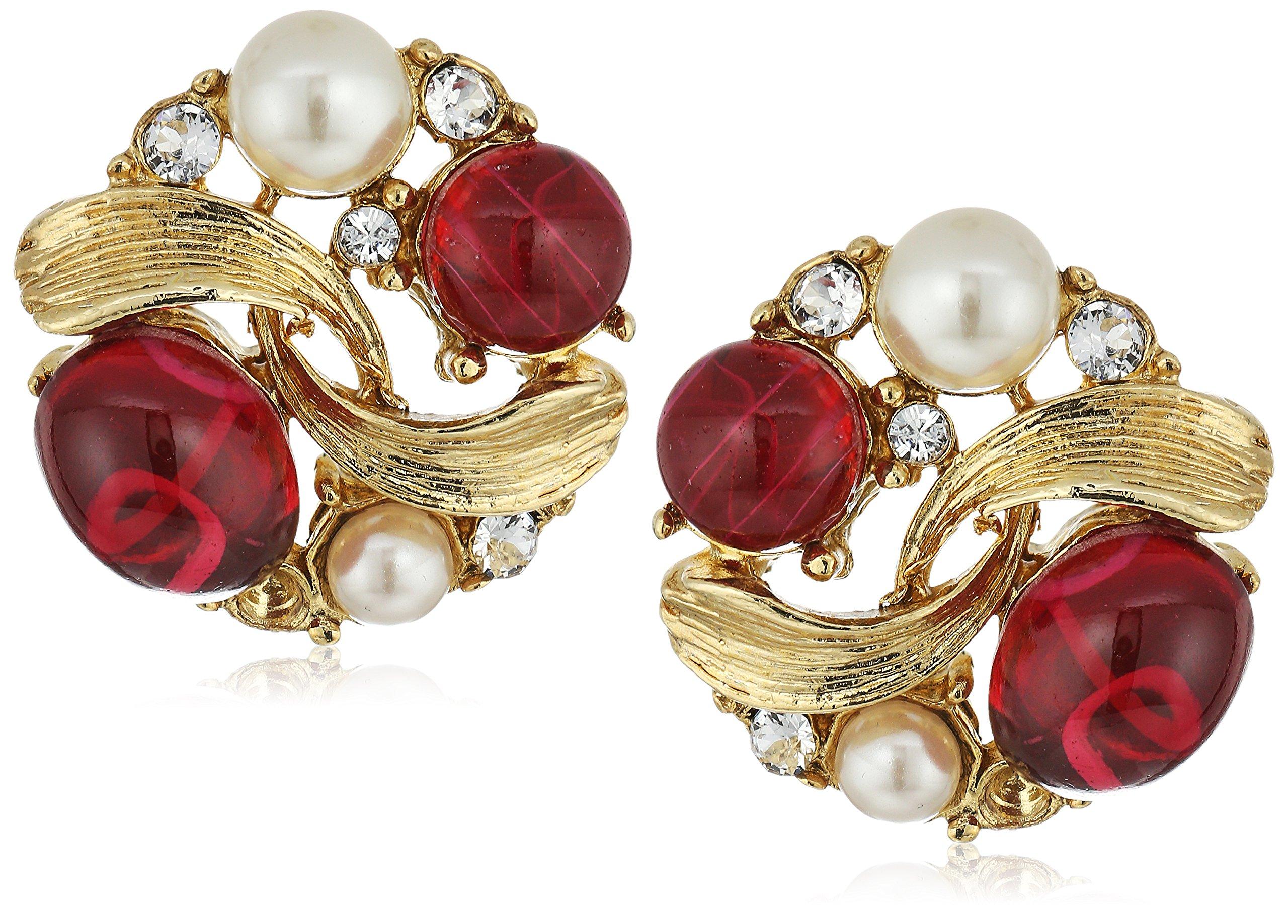 Ben-Amun Jewelry Golden Era Swarovski Crystal Ruby Glass Pearl Gold Earrings for Bridal Wedding Anniversary