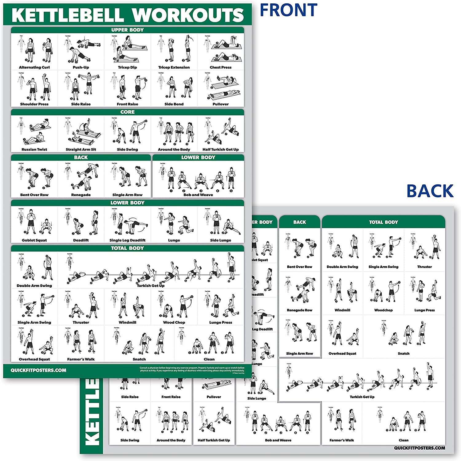"""10 Pack - Exercise Workout Poster Set - Dumbbell, Suspension, Kettlebell, Resistance Bands, Stretching, Bodyweight, Barbell, Yoga Poses, Exercise Ball, Muscular System Chart (LAMINATED, 18"""" x 27"""") : Sports & Outdoors"""