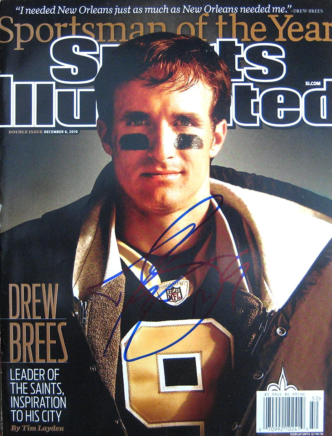 Brees, Drew 12/6/10 autographed magazine