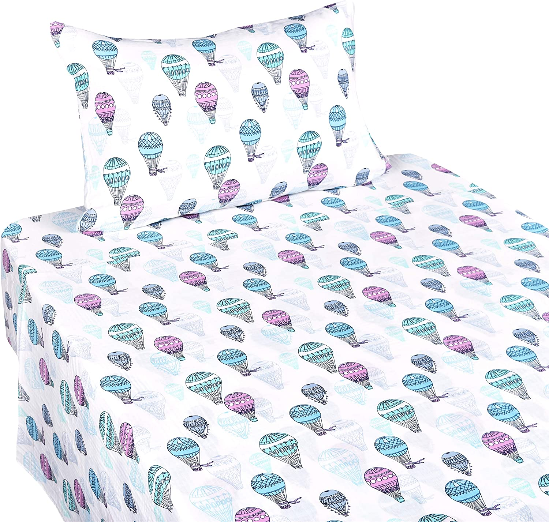 J-pinno Hot Air Balloon Muslin Cotton Bed Sheet Set Twin, Flat Sheet & Fitted Sheet & Pillowcase Natural Hypoallergenic Bedding Set (8, Twin)