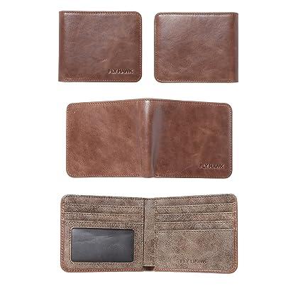 FlyHawk RFID Blocking Genuine Leather Wallets Men's Biford Mini Wallets