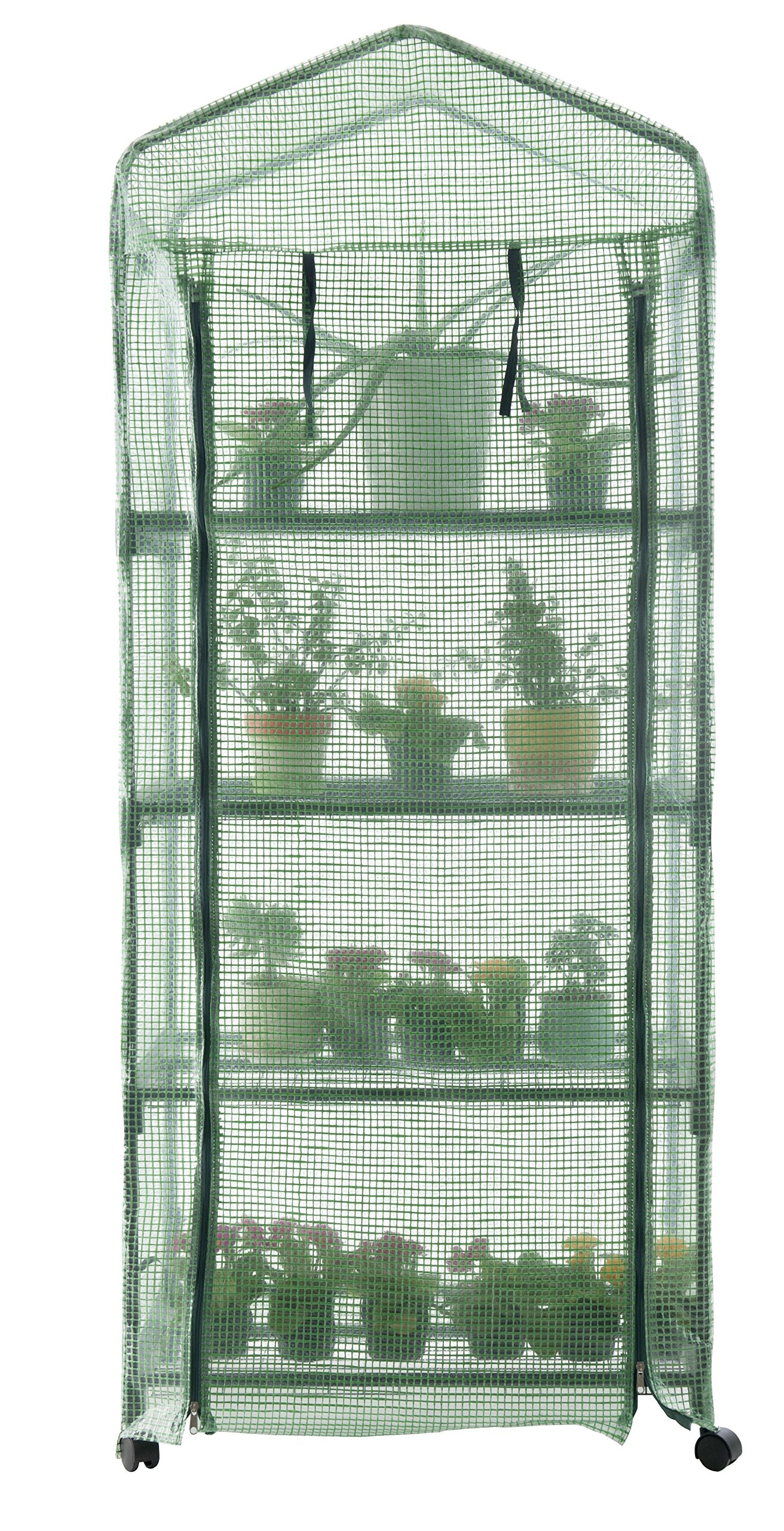 GOJOOASIS 4 Tier Mini Portable Garden Greenhouse on Wheels Plants Shed Hot House for Indoor and Outdoor by GOJOOASIS (Image #2)