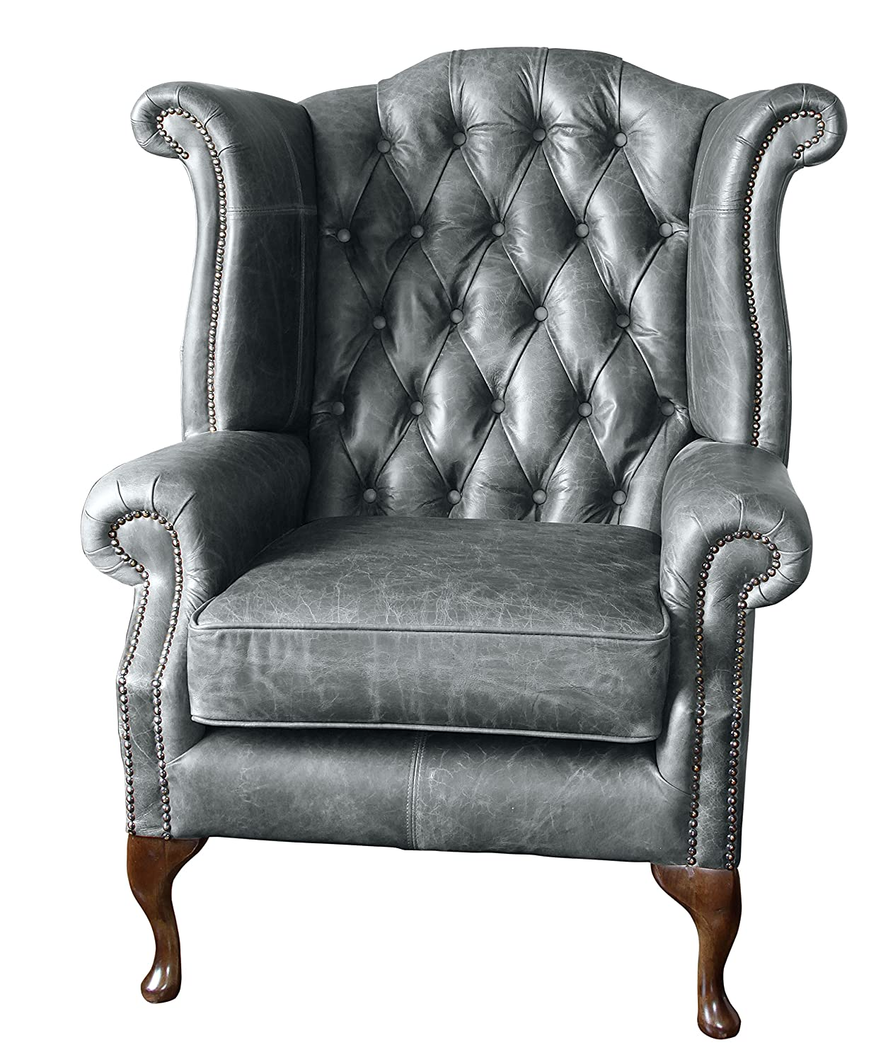 Peachy Sofa Manufacturing Handmade Chesterfield Queen Anne High Back Wing Chair In Vintage Grey Leather Home Interior And Landscaping Mentranervesignezvosmurscom