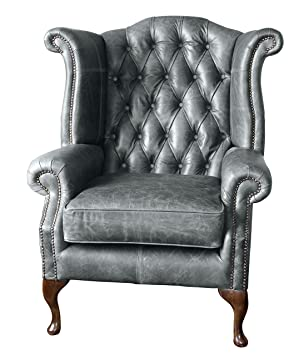 Sofa Manufacturing Handmade Chesterfield Queen Anne High Back Wing Chair In  Vintage Grey Leather