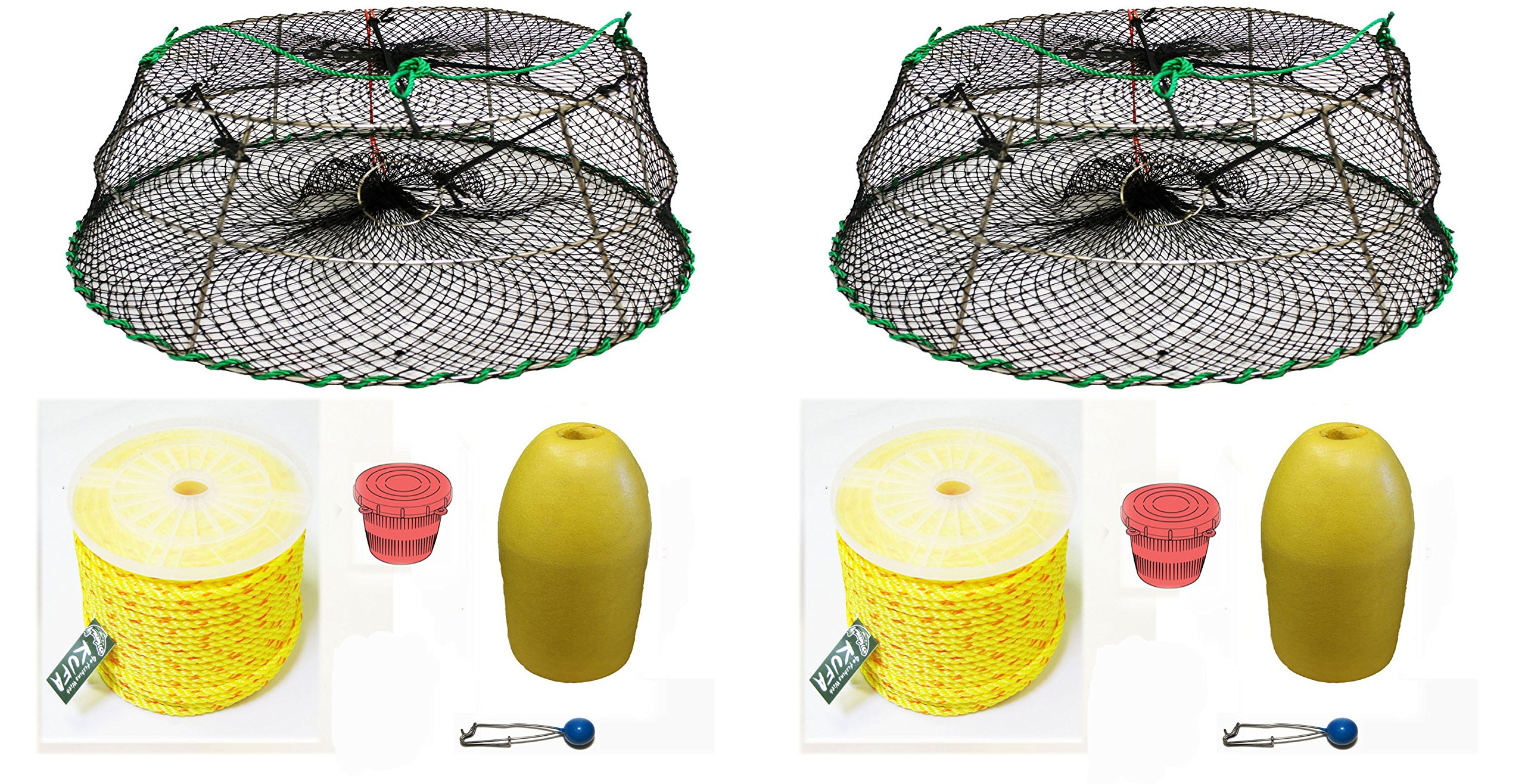 2-Pack of KUFA Sports Tower Style Prawn trap with 400' rope, Yellow float and Vented Bait Jar combo (CT77+PAP1)X2
