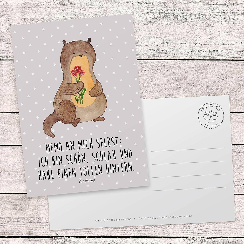 Mr Farbe Grau Pastell /& Mrs Postkarte Otter Blumenstrau/ß mit Spruch Ansichtskarte Panda Gru/ßkarte