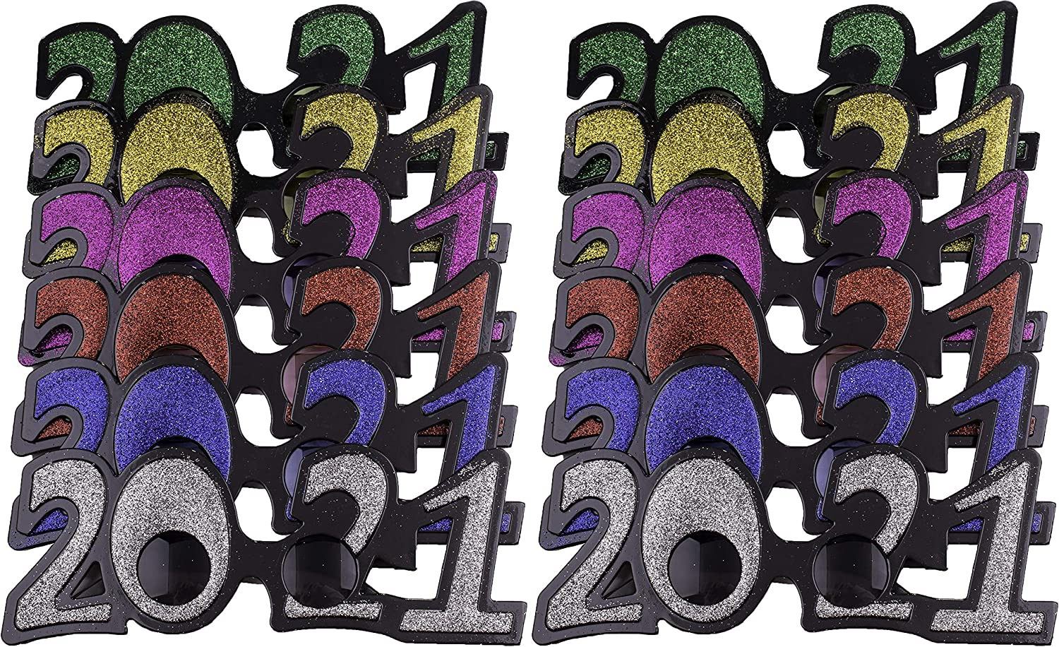 12 Pack of 2021 New Years Eve Party Glasses Classic Glitter