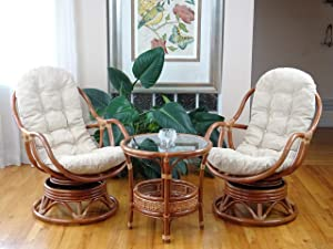 Set of 2 Bali Lounge Swivel Rocking Chairs with Cream Cushion and Pelangi Round Coffee Table Natural Rattan Wicker Handmade, Colonial